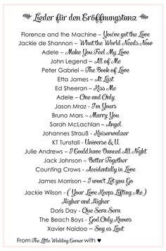 Die schönsten Hochzeitslieder: 21 Lieder für den Eröffnungstanz | Hochzeitsblog - The Little Wedding Corner