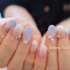 New Years Nail Art, Sea Nails, Nail Art Techniques, Kawaii Nails, Cute Nail Art Designs, Summer Acrylic Nails, Mermaid Nails, Nail Art Brushes, Japanese Nails
