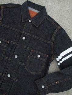 "Momotaro ""Going to Battle"" pleated jacket Denim Jacket Men, Denim Jeans Men, Momotaro Jeans, Leather Boots, Leather Jacket, Denim Ideas, Japanese Denim, Men Stuff, Raw Denim"