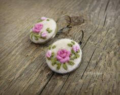 Rose Garden Earrings - Beige and Fucsia - felted earrings, embroided earrings, traditional techniques, handmade jewelry