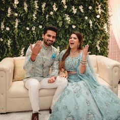 Brides Who Prove Powder Blue is the New Red for Weddings is part of Engagement dress for bride A red lehenga has an altogether different appeal to it which demonstrates why it is the most approv - Engagement Dress For Groom, Indian Engagement Outfit, Couple Wedding Dress, Wedding Dresses Men Indian, Indian Wedding Couple, Indian Bridal Outfits, Engagement Dresses, Indian Designer Outfits, Engagement Lehnga