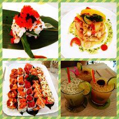 "Uramaki selection, ceviche and caipirinhas from ""Temakinho"" restaurant, Milan."