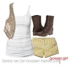 """Serena Van Der Woodsen inspired outfit/Gossip Girl"" by tvdsarahmichele ❤ liked on Polyvore featuring Scotch & Soda, James Perse, Balmain, Madden Girl, gossipgirl, blakelively and serenavanderwoodsen"
