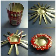 aluminum cans into cute flowers