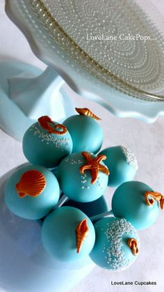 Carol W-this made me think of you Blue Beach Wedding Cake Pops- Cute for the kiddos! Beach Themed Cakes, Beach Cakes, Themed Cupcakes, Wedding Cake Pops, Wedding Cakes, Wedding Themes, Wedding Ideas, Wedding Desserts, Wedding Venues