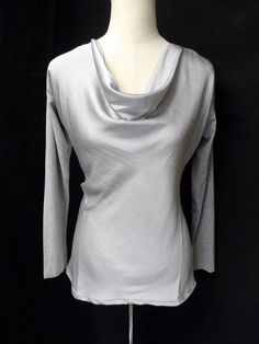 NWOT VINCE CAMUTO Sz PM/M LIGHT GRAY TWO FABRIC COMBINATION DRAPED NECK BLOUSE #VinceCamuto #DrapedNeckblouse #any
