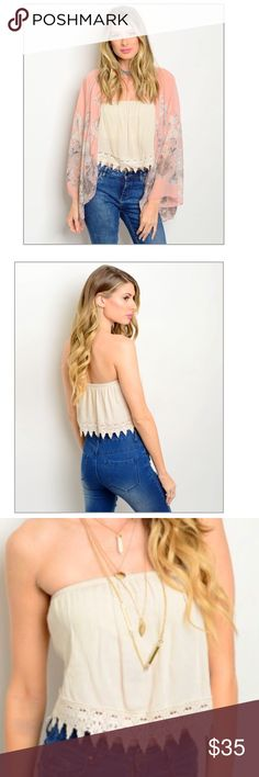 """Natural Lace Crochet Top 