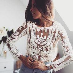 Lindos outfits con blusas de encaje | Belleza