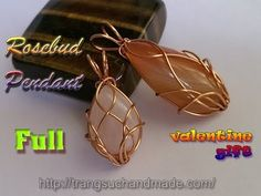 Wire Rosebud Pendant with Flat stone without holes - full version ( slow...
