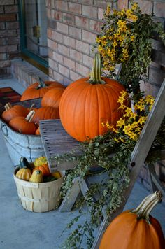 COUNTRY FALL PUMPKIN PORCH DECORATING. RUSTIC COTTAGE. FARMHOUSE PORCH DECOR