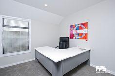 Office. Resene Half Truffle (Walls), Resene Black White (Ceiling).