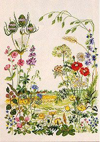 Field floral cross stitch pattern (1)