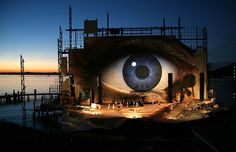 A general view of the floating stage of Bregenz opera house, photo taken during the rehearsal of opera ''Tosca'' of Giacomo Puccini on July 13, 2007. Every year this stage is different and is always a floating island. All of them are amazing.