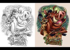 Timon and Pumbaa Disney Sketches, Disney Drawings, Cartoon Drawings, Cartoon Art, My Drawings, Cartoon Tattoos, Disney Tattoos, Arte Disney, Disney Fan Art
