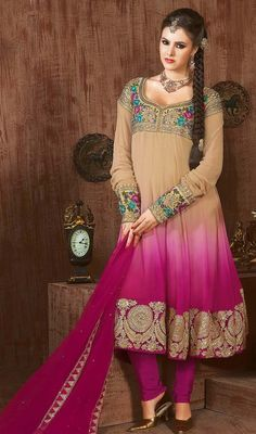 Add an eclectic look draped in this beige and pink net embroidered Anarkali churidar suit. The beautiful floral patch, lace, resham and sequins work throughout the dress is awe-inspiring.  #FushiaPinkAndCreamBorderWorkAnarkali