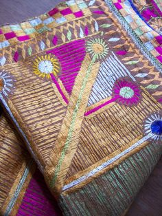 Phulkari Bagh Shawl - Punjab India - Embroidery Wedding Fabric