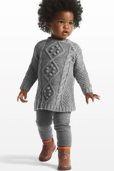 Adorable natural toddler with Joe Fresh Kids Cableknit Sweater Dress