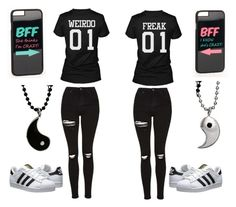 """""""Bests friends :D"""" by fariha2003 ❤ liked on Polyvore featuring Topshop, adidas Originals and JFR"""