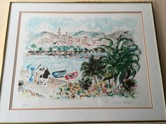"Seascape Signed & Numbered Lithograph Print, Signed by Artist, Framed, 25"" x 19"""