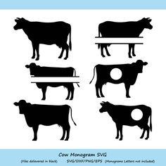 Cow Png, Cow Vector, Farm Logo, Black Cow, Vinyl Lettering, Monogram Letters, Silhouette Studio, Farm Animals, Cricut Design