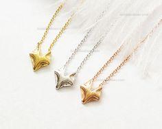 Collar de Fox en oro rosa pequeño zorro rosa collar por MissDiary