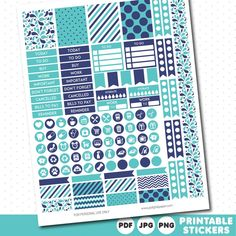Turquoise and dark purple weekly planner stickers with headers, full boxes, half…