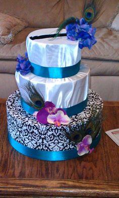 Cake like Cardbox :  wedding cake cardbox diy purple teal IMAG0046