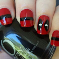 #Manicure #Uñasdecoradas #Negro #Rojo #Deadpool ♥