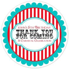 Carnival Birthday Labels, Personalized Circus Stickers, Birthday Decoration, Carnival Favors, Circus Party Favors on Etsy, $5.95