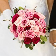 Pink and Red Rose Wedding Bouquet