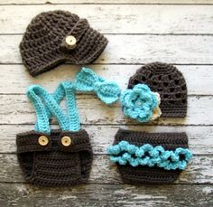 Vintage Twin Photography Prop Set in Taupe, Aqua and Wheat Available in 0-3 Months Size