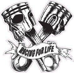 Skulls Pistons Racing for Life Version 2 Decal Skulls Pistons Racing for Life Version 2 Decal, Racing Tattoos, Car Tattoos, Biker Tattoos, Motorcycle Tattoos, Badass Tattoos, Motorcycle Art, Skull Tattoos, Mini Tattoos, Body Art Tattoos