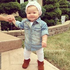 Denim mocs. Baby girl summer spring fall fashion style #baby #summer
