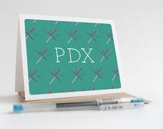 PORTLAND PDX airport carpet greeting card  Oregon by AlissaThiele
