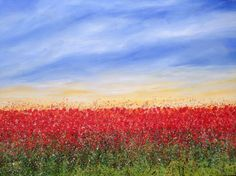 """ARTFINDER: """"Sunrise Over Poppy Fields"""" #2 by Lucy Moore - """"Sunrise Over Poppy Fields"""" #2 I love painting abstract landscapes, using my techniques to put movement into the painting bringing it to life I am espe..."""