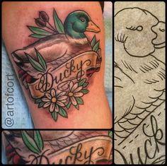 Adorable duck tattoo #tattoo #duck #flower
