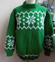 72a35dd4f388 Green Snowflakes. Christmas JumpersChristmas SweatersChristmas KnittingHand  ...