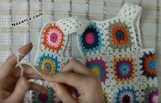 ETEĞİ PÜSKÜLLÜ MOTİFLİ KIZ BEBEK YELEĞİ KOLAY TARİFİ | Nazarca.com Blanket, Crochet, Creative, Blankets, Knit Crochet, Crocheting, Comforter, Chrochet, Hooks