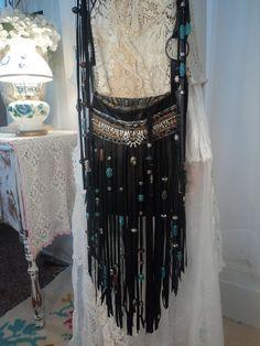 Handmade Black Leather Boho Fringe Purse Cross Body Hippie Gypsy Bag tmyers WOW! #Handmade #MessengerCrossBody