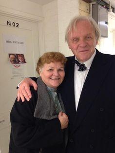 Leslie Nicol/Mrs.  Patmore with Sir Anthony Hopkins, Ealing Studio 2/19/15 .... photo tweet by Leslie Nicol,  filming for series 6.