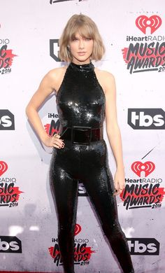 33c9a360d0 Taylor Swift in black sequin catsuit