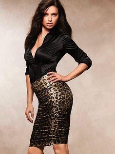 Skirt-Pencil Skirt-Leopard
