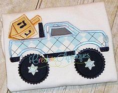Hanukkah Truck Applique - 3 Sizes! | Tags | Machine Embroidery Designs | SWAKembroidery.com Creative Appliques
