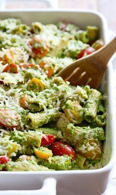 Healthy Pesto Baked Rigatoni
