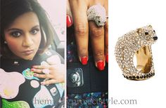 Mindy accessorized her look with a sparkling and seasonally appropriate polar bear ring!
