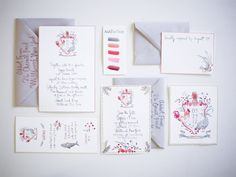 Wedding Ideas: happy-menocal-watercolor-wedding-suite-crest-farm-wedding-chickens-pineapple-pink-gray-grey