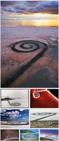 The Spiral Jetty, an earthwork sculpture built on the northeastern shore of the Great Salt Lake by © robert smithson