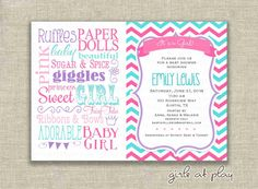 Baby Shower Girl Invitation Invite Chevron by girlsatplay on Etsy, $15.00 #babygirlshower #chevron #pink #princess #adoption