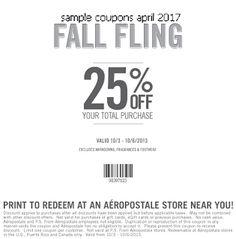 free Aeropostale coupons april 2017