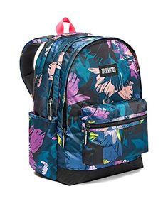 4194565b6e6f Victorias Secret Pink Campus Backpack Black Floral Print ... Vs Pink  Backpack